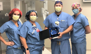 Dr. Robert Browning Recognized for 500th Robotic Surgery