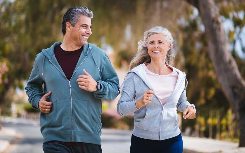 A couple exercising