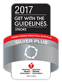 American Heart Association/American Stroke Association's Get With The Guidelines®-Stroke Silver Plus Quality Achievement Award with Target: Stroke Honor Roll Elite Plus